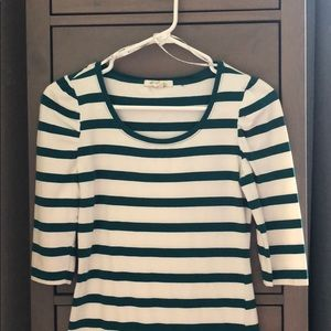 Forever 21 white w/teal stripes size M